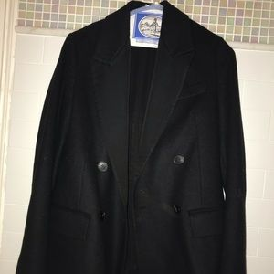 All Saints wool coat with fringe detailing